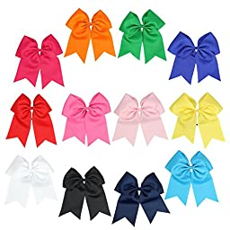 ICObuty 12 Pcs 8 Inch Large Jumbo Cheer Bow Ponytail Holder for Teens Girls Sports
