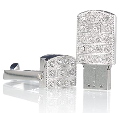 (Swarovski Crystal Elements) Stainless Steel Swiel Jewellery Jewelry USB Flash Pen Drive Disk Memory with Simulated Diamond Crystals and Key Ring Great Gift (Ricco 12-033)