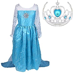 Elsa Frozen Snow Queen Party Costume Dress with a Tiara (5-6)