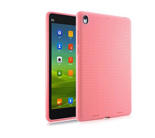 Premium Dotted Flexible Silicone Back Skin Case / Cover for Xiaomi Mi Pad - Pink + Freebies by Cool Mango (TM)