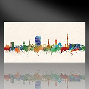 druck auf leinwand stencil graffiti bild dortmund skyline paul london bild fertig auf. Black Bedroom Furniture Sets. Home Design Ideas