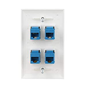 Ethernet Wall Plate 4 Port - Cat6 Ethernet Cable Wall Plate Female to Female . (Color: 4p-cat6-1, Tamaño: 4p-cat6-1)