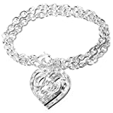 ANDI ROSE Fashion Jewelry 925 Sterling Silver Plated Heart Rhinestones Charms Bangles Bracelets