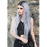 EEWIGS Lace Front Wigs for Women Synthetic Ombre Gray Long Straight Sliver Color