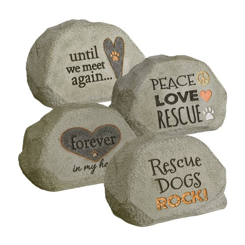 Grasslands Road Pet Message Garden Rock Assortment, 7-Inch, Gray, 4-Pack