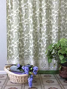 Paisley Fraiche Lime Green Cream Elegant Shower Curtain 72x72