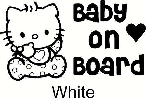 Hello-Kitty-Baby-on-Board-Car-Window-Vinyl-Decal-Sticker-6-Wide-Color-White