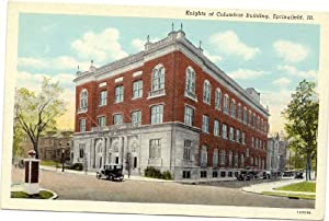 1930s vintage postcard knights of columbus building springfield illinois blank Knights of columbus swimming pool springfield il