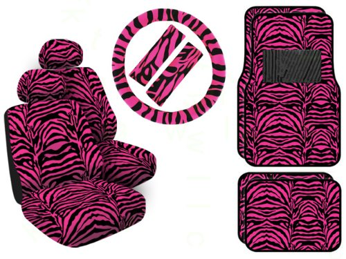 11 Piece Safari Animal Print Automotive Interior Gift Set - 4 Universal Fit Carpet Floor Mats, 2 Low Back Bucket Seat Covers with Separate Head Rests, Universal Fit Steering Wheel Cover and 2 Seat Belt Shoulder Pads - Hot Pink Zebra (Fuzzy Tiger Steering Wheel Cover compare prices)