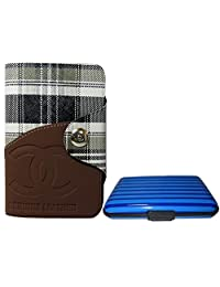 Apki Needs Long Tan Mens Wallet & Striped Blue Colored Credit Card Holder Combo