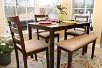 Hot Sale 5pc Dining Dinette Table Chairs & Bench Set Walnut Finish 150232