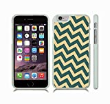 iStar Cases® iPhone 6 Plus TPU Skin Cover with Chevron Pattern Peach/ Light Jade Stripe , Rubber Grip, Slip-on TPU Soft Case (White)