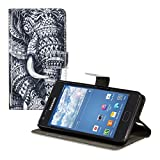 Kwmobile® Chic leather case for the Samsung Galaxy S2 i9100 / S2 PLUS i9105 with convenient stand function - Elephant design in Black White