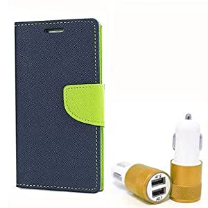 Aart Fancy Diary Card Wallet Flip Case Back Cover For Apple I phone 5 - (Blue) + Dual ports USB car Charger With Ultra Power Technolgy by Aart Store.