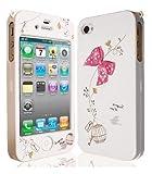 JAMMYLIZARD | WEIß / ROSA niedliche Bow / Schleife Ganzkörper Hülle/Tasche/Hardcase für Apple iPhone 4 / 4S inkl. Displayschutzfolie