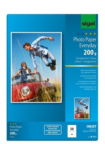 papier photo jet d'encre Everyday-plus, format A4, haute brillance, blanc, 200 g/m2 contenu: 50 f...