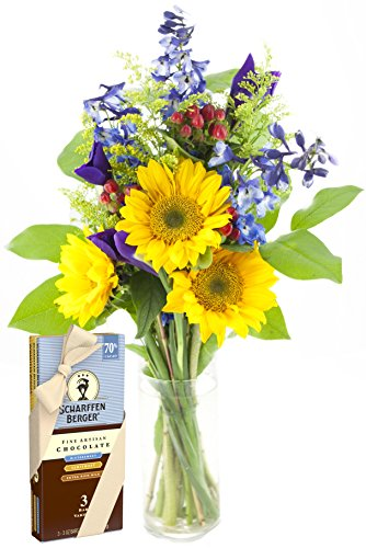 Blue Skies Sunflower and Iris Bouquet and Scharffen Berger Chocolate -With Vase