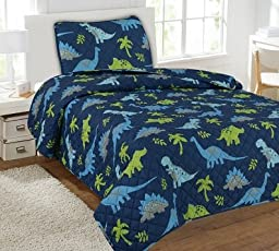 GorgeousHome (#22) 5PC COMPLETE QUILT & SHEET SET Twin Size Assorted Printed Kids Designs Coverlet Bedspread With 2 Pillow Cases Bed Bedding For Boys and Girls (DINOSAUR DENIM)