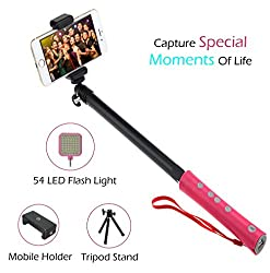 F-EYE® Compact Pocket Size Selfie Stick Extendable Wireless Monopod with inbuilt BlueTooth Remote Shutter, with adjustable Attached Phone Holder (Bluetooth Selfie)