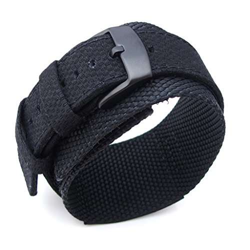 Miltat 21Mm Double Layer Nylon Black Tactical Velcro Watch Strap, Pvd Black Buckle