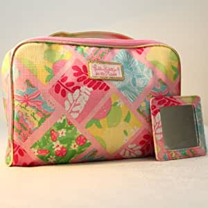 Estee Lauder 1 New Lilly Pulitzer Cosmetic Bag in Lilly Patch + Matching Mirror Estee Lauder