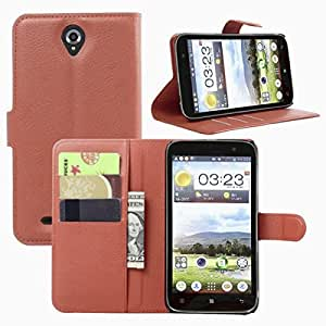 Premium Soft PU Leather [ Wallet & Flip ] Case Cover for Lenovo A850 (Brown)