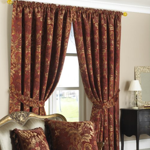 belgravia red gold traditional jacquard readymade curtains 90 x 90