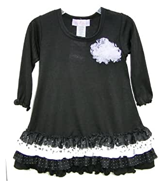 Fillys Black Ruffle Dress - Black and White Ruffles on Hem (4/5)