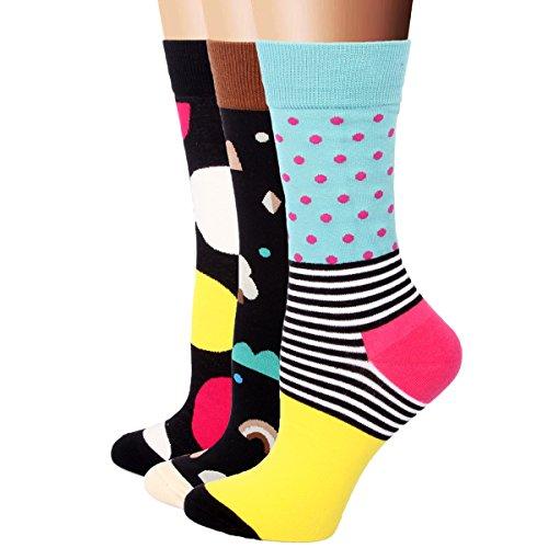 RioRiva Cute Cartoon calzini termici vari disegni / Colori adulti Donna cervin calze vita in dimensione universale Confortables per Uomo e Donna (Donna EU 36-42, WSK33- 3 pares)
