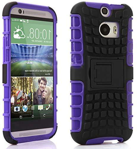 Mylife Jewel Purple + Flat Black {Rugged Design} Two Piece Neo Hybrid (Shockproof Kickstand) Case For The All-New Htc One M8 Android Smartphone - Aka, 2Nd Gen Htc One (External Hard Fit Armor With Built In Kick Stand + Internal Soft Silicone Rubberized Fl