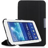 EasyAcc Ultra Slim Samsung Galaxy Tab 3 7.0 Lite T110 Hülle Leder Tasche Case schutzhülle mit Standfunktion (Nicht kompatibel mit der Tab 3 7.0) - Kunstleder, Schwarz