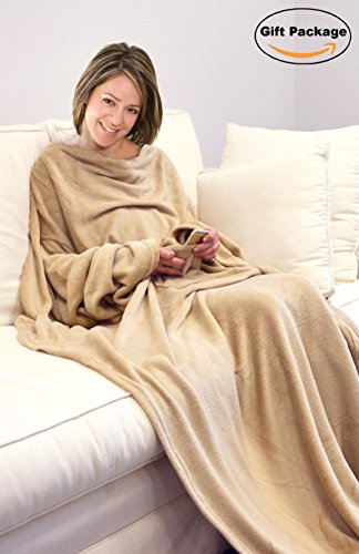 Napa Super Soft Microplush Fleece Blanket With Sleeves And Pockets Adult Throw Robe for Lounge Couch or Bed - Retail Packaging - Latte