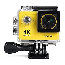ENRG Epicam Action Camera (Yellow) - 4K resolution - 12MP and 170 Degree wide angle lens - 30M Waterproof - Rechargeable - WIFI