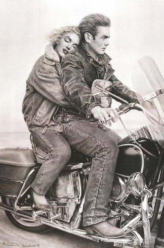 James Dean and Marilyn Monroe on a motorcycle