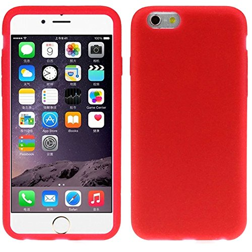 Semoss Protective Silicone Rubber Case Gel Cover for iPhone 7 Durable Soft Back Bumper Skin Cover - Red