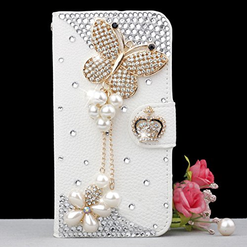 Luxury 3D Bow Fashion Bling Diamond Flower Crown Mirror Tower Ballet Girl Butterfly PU Flip Leather Case Cover For Smart Mobile Phones (Samsung Galaxy Grand 2 G7102 G7106, Butterfly) (Mobile Covers For Grand 2 compare prices)