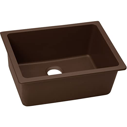 "Elkay ELGU2522PC0 Granite 25"" x 18.5"" x 9.5"" Single Bowl Undermount Kitchen Sink, Pecan"