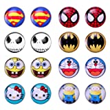 Cool for Kids, Assorted Color Wholesale Lot Cute Cartoon Pattern Round Stud Earrings, Hypoallergenic, Nickel-free, Lead-free