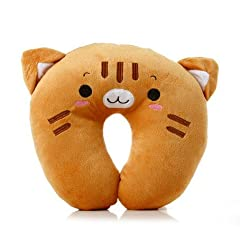 選べる 首枕 !愛着がわく 動物 ネックピロー オフィス 旅行 トラベル ドライブ (ネコ)