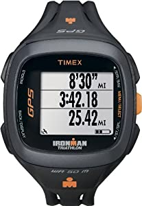 Timex Unisex T5K744 Ironman Run Trainer 2.0 GPS Speed+Distance Black/Orange Watch