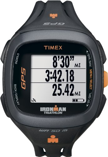 Timex T5K744 Ironman Run Trainer GPS Watch, Black/Orange Running Gps