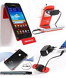 Riona Mobile Wall Shelf holder A7 Large Red + Hanger Stand + Cable Organizer ... A7LR-C