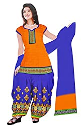 Dharmnandan Fashion Panghat Orange color Cotton Woman's Fancya Dress Material