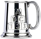 Personalised Engraved British Made Pewter Tankard ABC 123 Baby Christening Gift in Plain Card Box