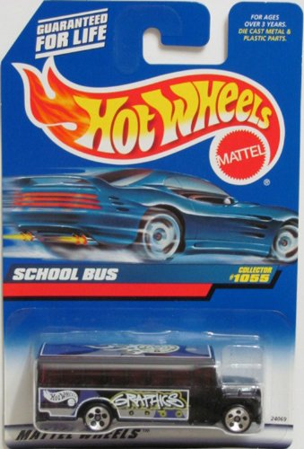 Mattel Hot Wheels 1999 1:64 Scale Black School Bus Die Cast Car Collector #1055