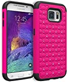 Vogue shop Galaxy S 6 Case, Heavy Duty Hybrid Protective Armor Case - Soft Black Silicone Cover with stylish color Studded Rhinestone Bling Design Hard Case for Samsung Galaxy S 6 (rose)