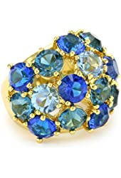 """Trina Turk """"Blues and Golds"""" Jewel Encrusted Ring, Size 7"""