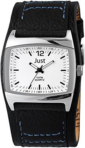 Just Watches 48-S10628-WH-BK - Orologio da polso uomo, pelle, colore: nero