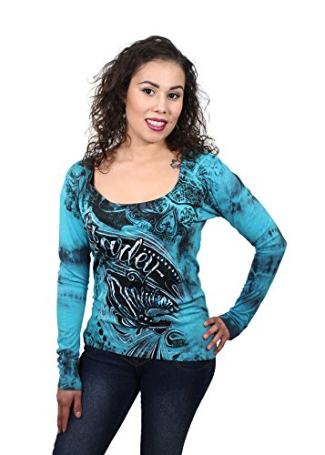 Harley-Davidson Womens Modern Biker Crystal Wash Teal Long Sleeve (Medium)