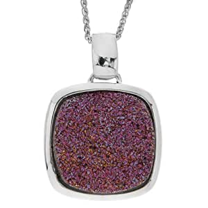 Sterling Silver Rose Drusy Quartz Pendant Necklace, 18""